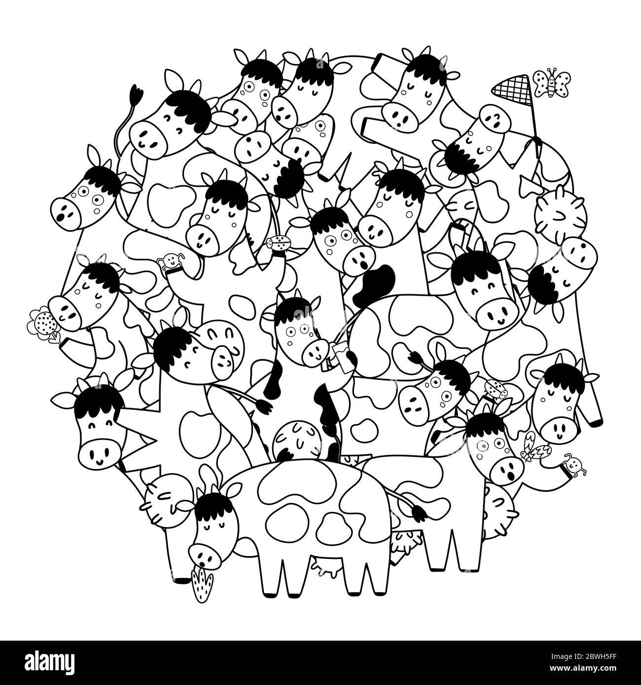 Kreis Form Muster mit niedlichen Kühe zum Ausmalen Buch Stock Vektor