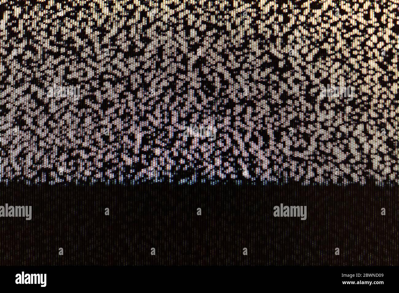 TV-Bildschirm statische abstrakt Pixel Glitch analoge Rauschen pixelisierte Hintergrundstruktur, Kopierraum. Retro verpixelt Fernsehbildschirm, gruselig gruselig Monitor Stockfoto
