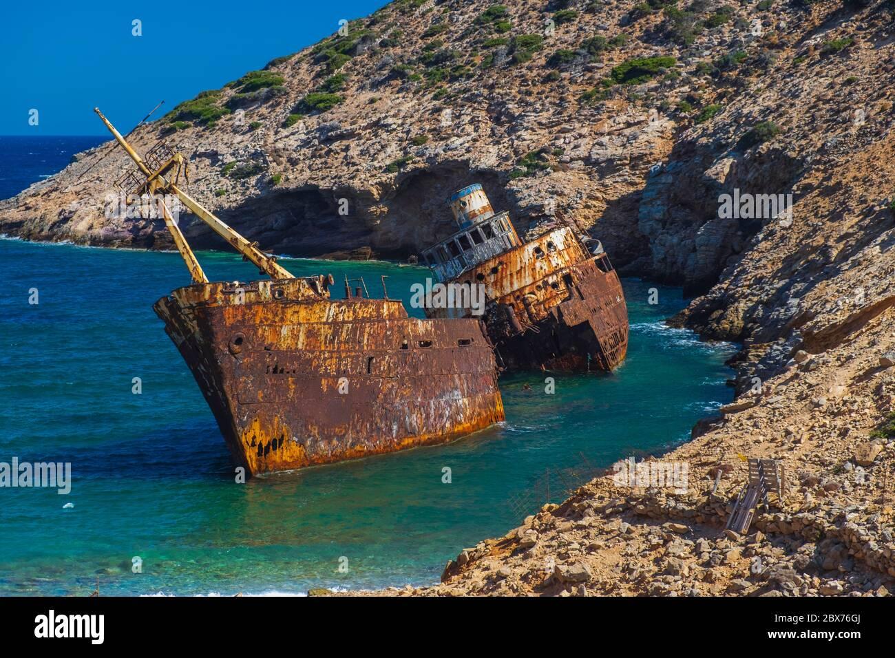 Schiffbruch von Olimpia. Amorgos, Insel. Griechenland Stockfoto