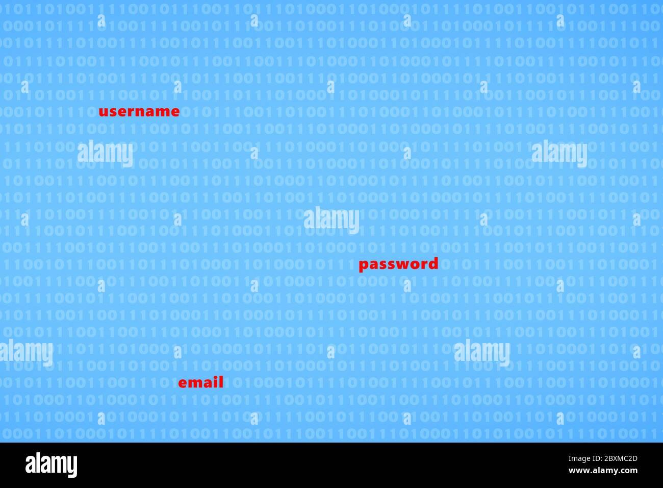 Gehacktes Passwort für Benutzernamen und E-Mail-Datenschutzverletzung - Cybercrime-Konzept Stockfoto