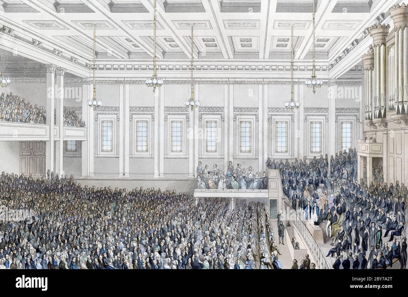 Der vollständige Titel unter dem Bild dieses Londoner Anti-Sklaverei-Treffens lautet: Treffen der Gesellschaft für die Auslöschung des Sklavenhandels und für die Zivilisation Afrikas; am 1. Juni 1840 in der Exeter Hall: Seine Königliche Hoheit Prinz Albert, der Präsident, präsidierte. Aus einem Stich von James Harris nach einem Werk von S. Blunt, erschienen in London 1840 Stockfoto