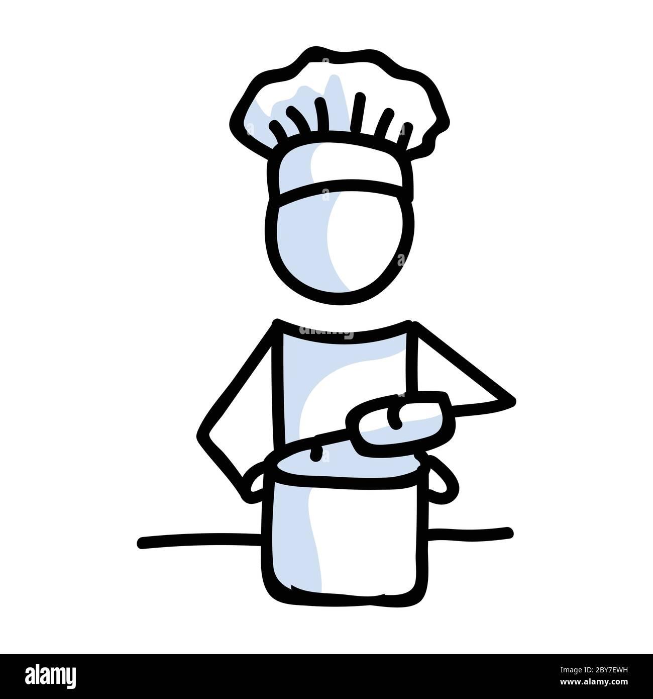 Niedlichen Stick Figur Koch Kochen zu Hause lineart Symbol