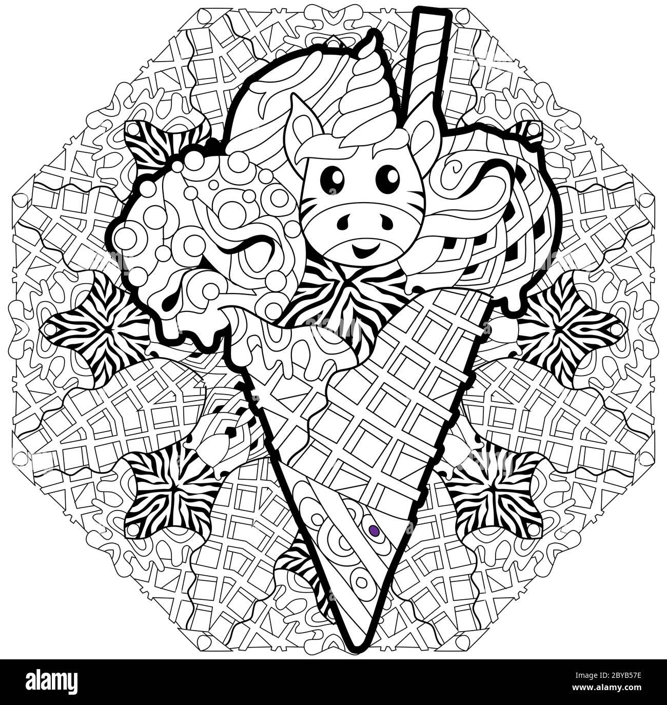 Eis mit Einhorn Kopf mit Mandala. In schwarz-weiß umrandet für