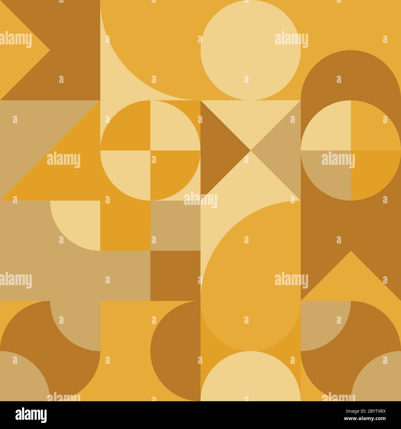 Abstraktes geometrisches Retro-Design. Vektor-Nahtloses Muster in gelben Farbtönen. Stock Vektor