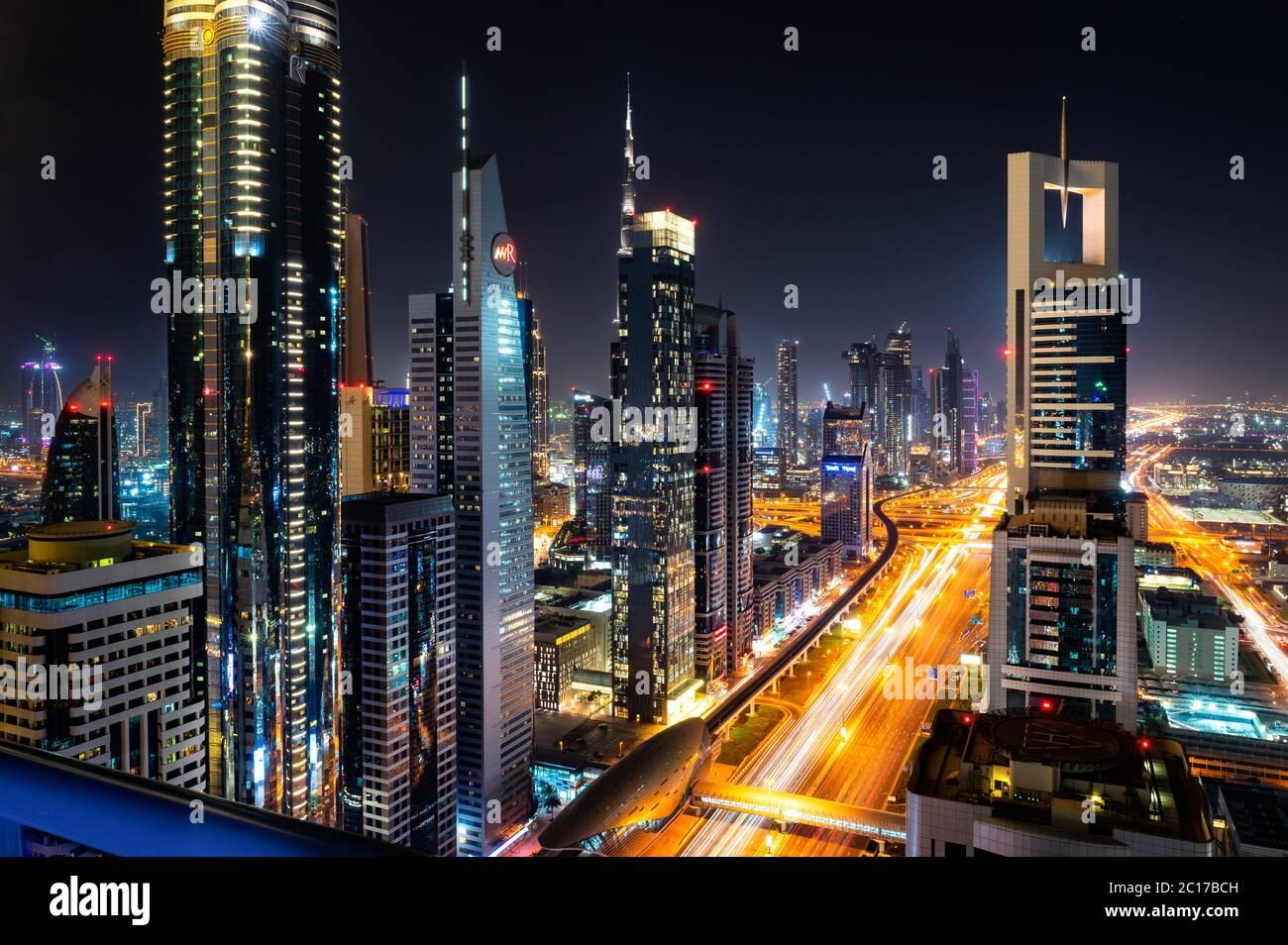 Die Stadt Dubai in den Vereinigten Arabischen Emiraten Stockfoto