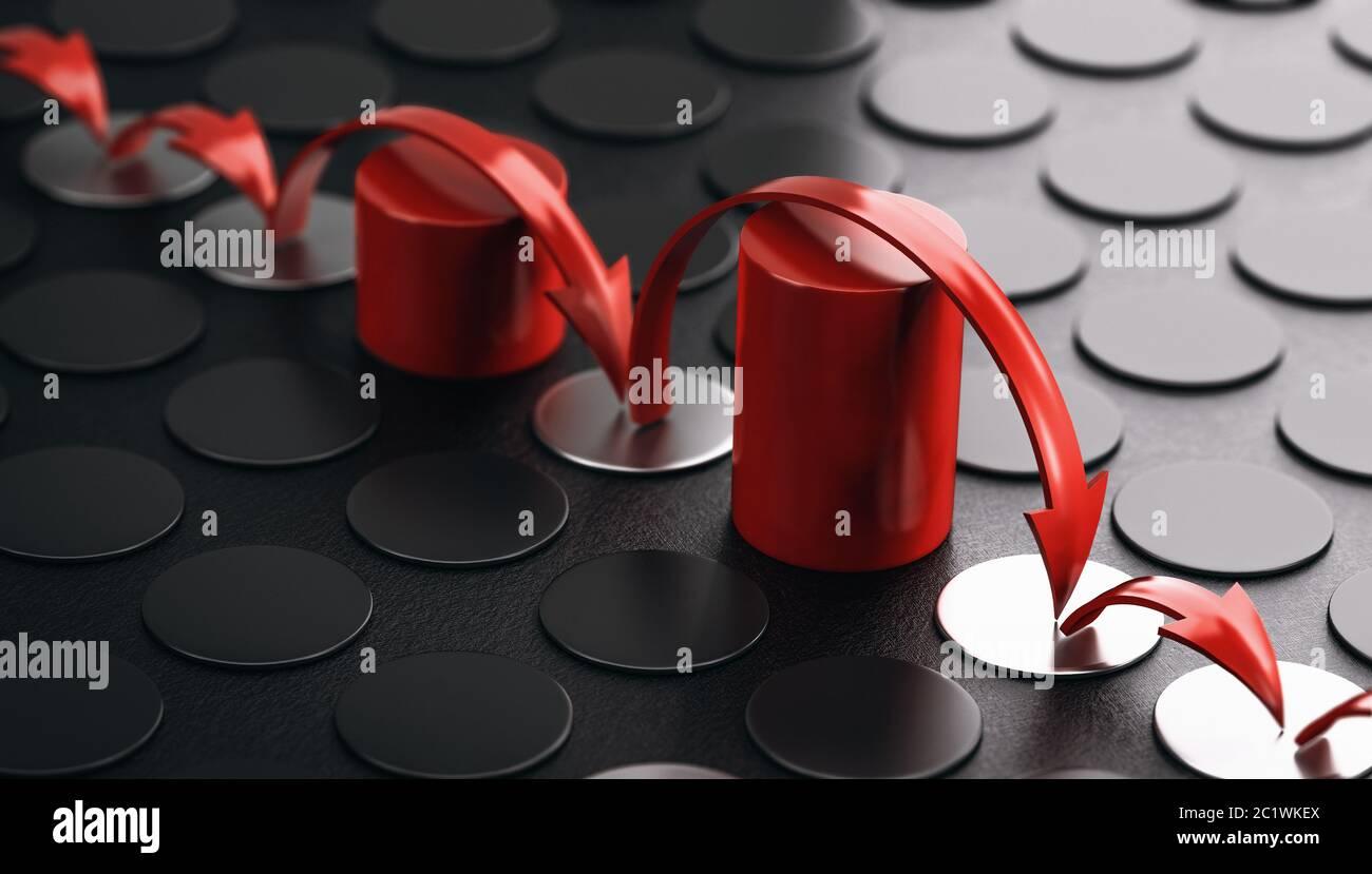 Pfeile hüpfen über rote Hindernisse. Schwarzer Hintergrund. Konzept der Überwindung von Barrieren und Resilienz. 3D-Illustration. Stockfoto