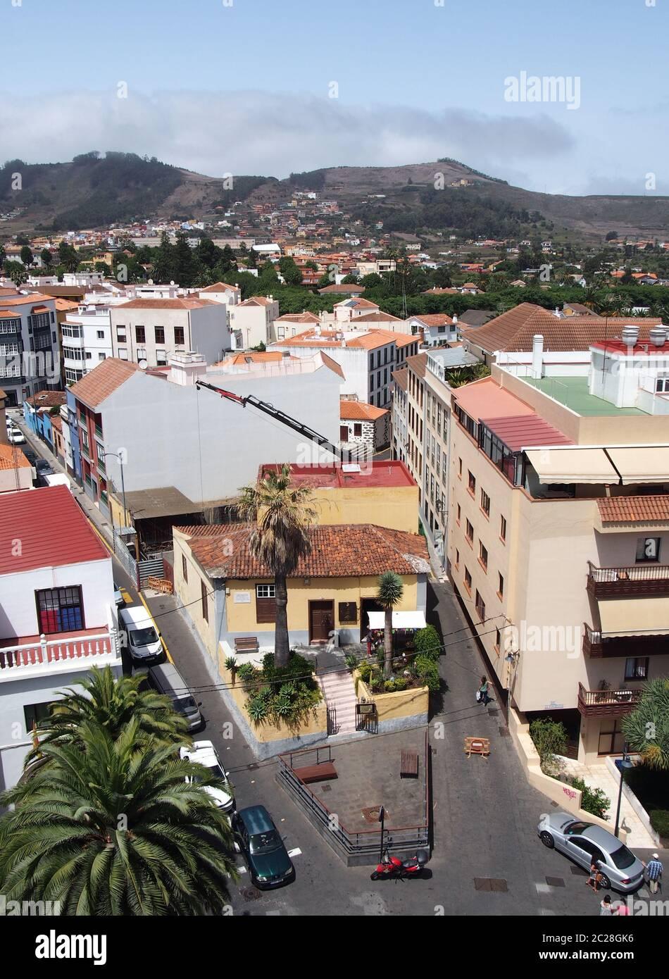Blick auf die Stadt von La Laguna auf Teneriffa Panoramablick Stockfoto