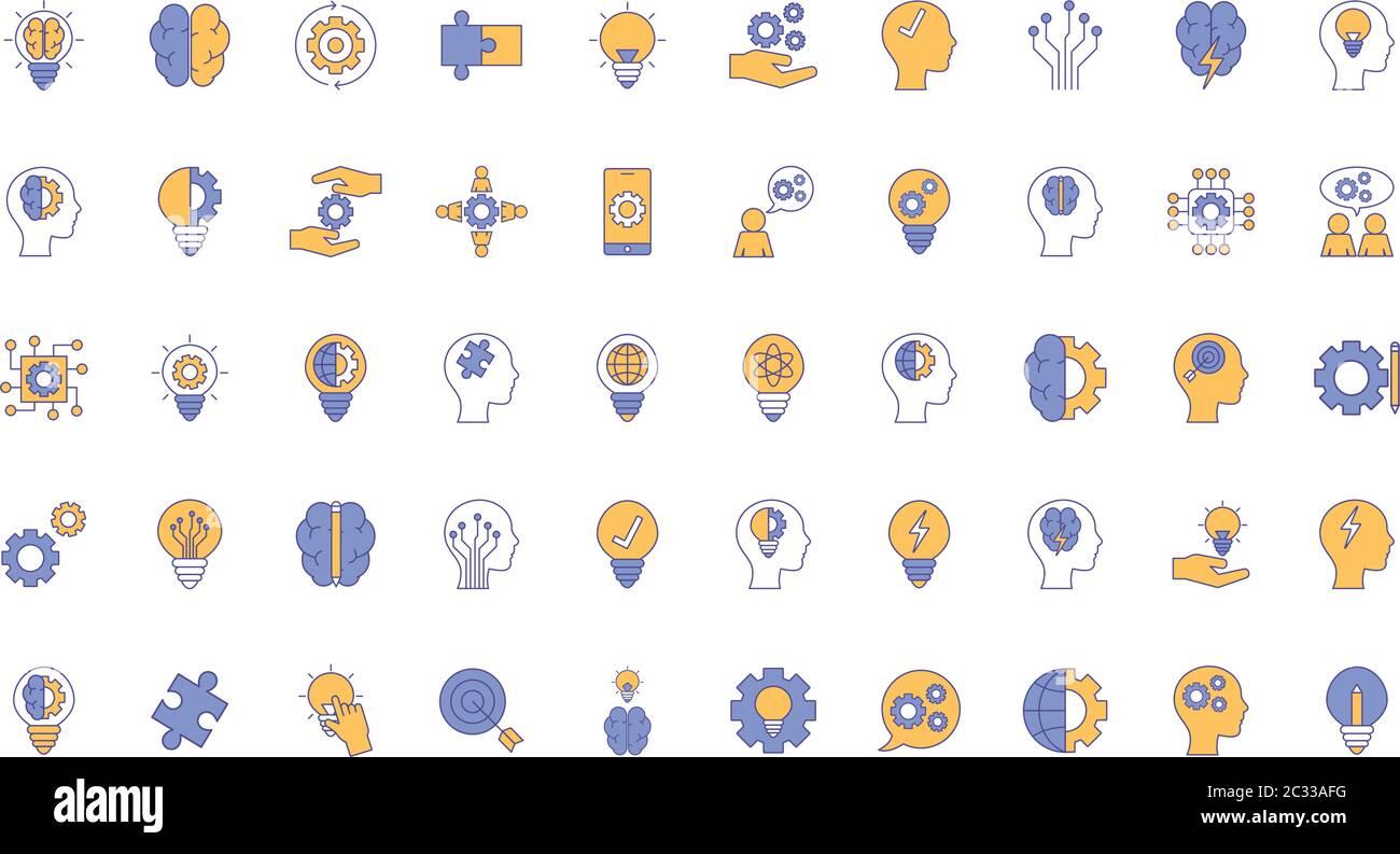 Linie und füllen Stil Icon Set Design, Innovation Idee und Kreativität Thema Vektor Illustration Stock Vektor