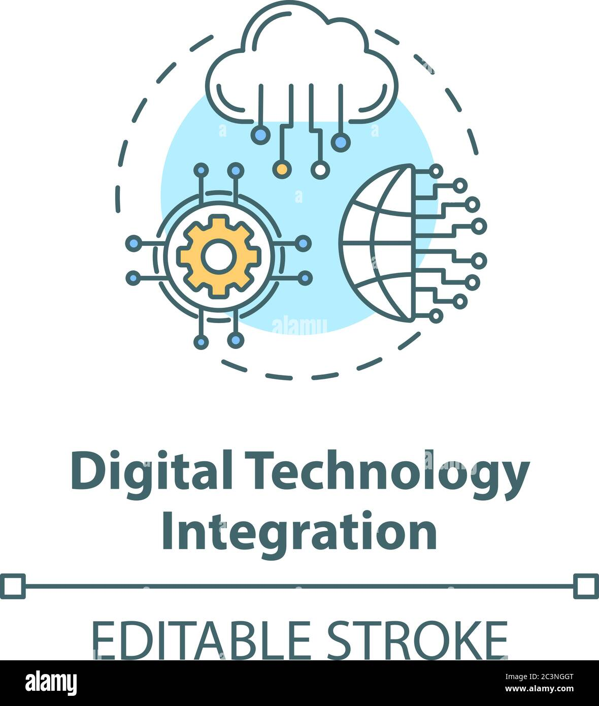 Symbol für das Konzept der digitalen Technologieintegration Stock Vektor