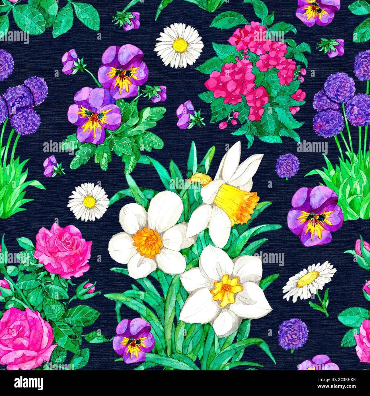 Nahtloses Muster mit Narzissen, Stiefmütterchen, Rose, Gänseblümchen auf blauem Hintergrund. Aquarell botanische Illustration mit floralen Elementen für Stoff texti Stockfoto