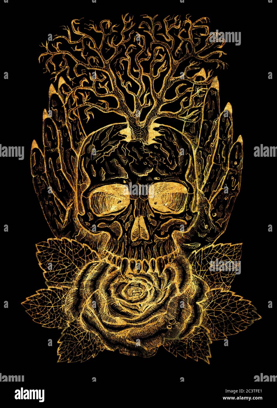 Goldenes Emblem mit Totenkopf, menschlichen Händen, Baum und Rose. Esoterische, okkulte und gotische Illustration mit Symbolen des Todes, Halloween mystischer Hintergrund, eng Stockfoto