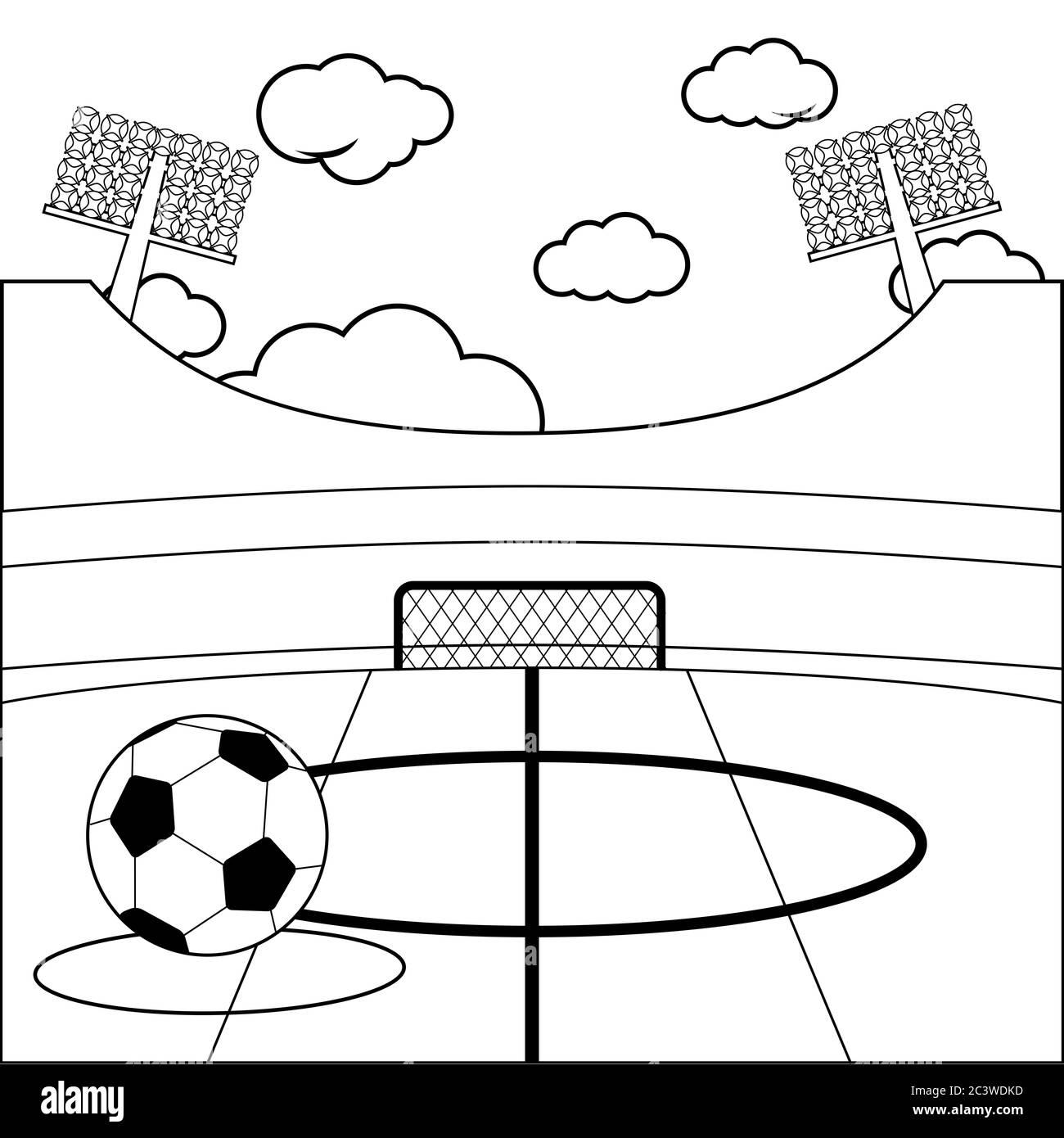 Fussballstadion Und Einen Fussball Schwarz Weiss Malseite Stockfotografie Alamy