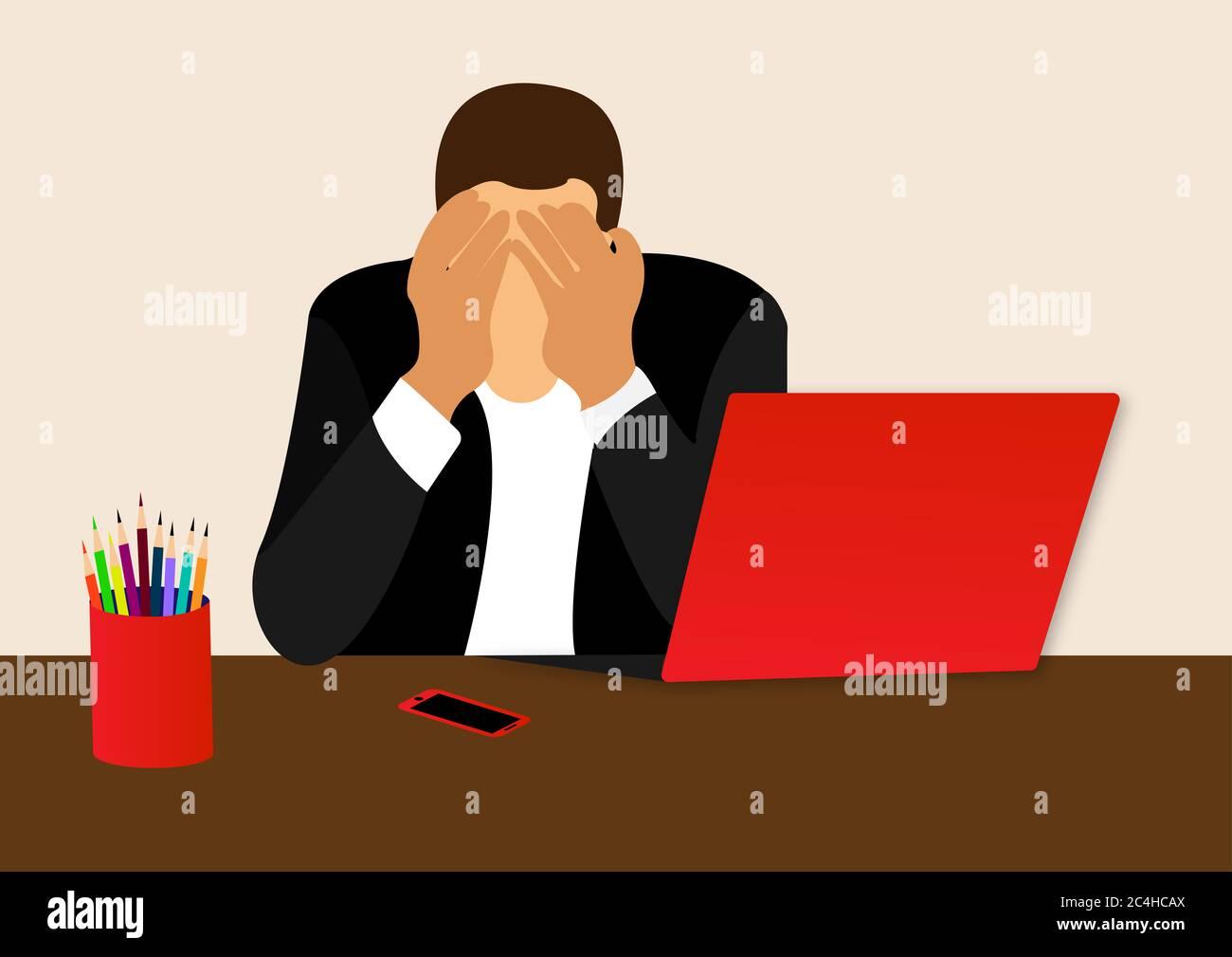 Ein junger Mann, der sich so sehr Sorgen macht, nachdem er seinen finanziellen Verlust auf dem Markt vom Laptop aus überprüft hat. Stockfoto