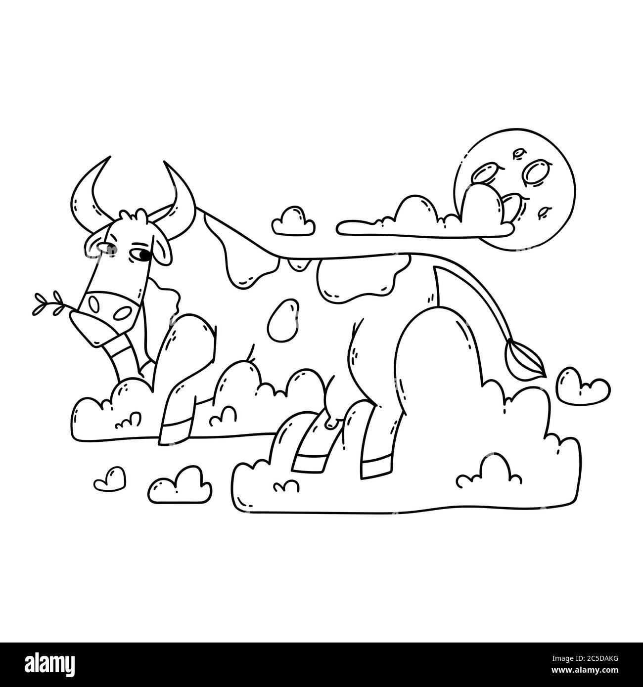 Kuh, die auf den Wolken ruht und den Mond anschaut. Entspannen und träumen. Lustig, Humor, Cartoon Tier Illustration. Umriss, schwarz-weiß illustratio Stock Vektor