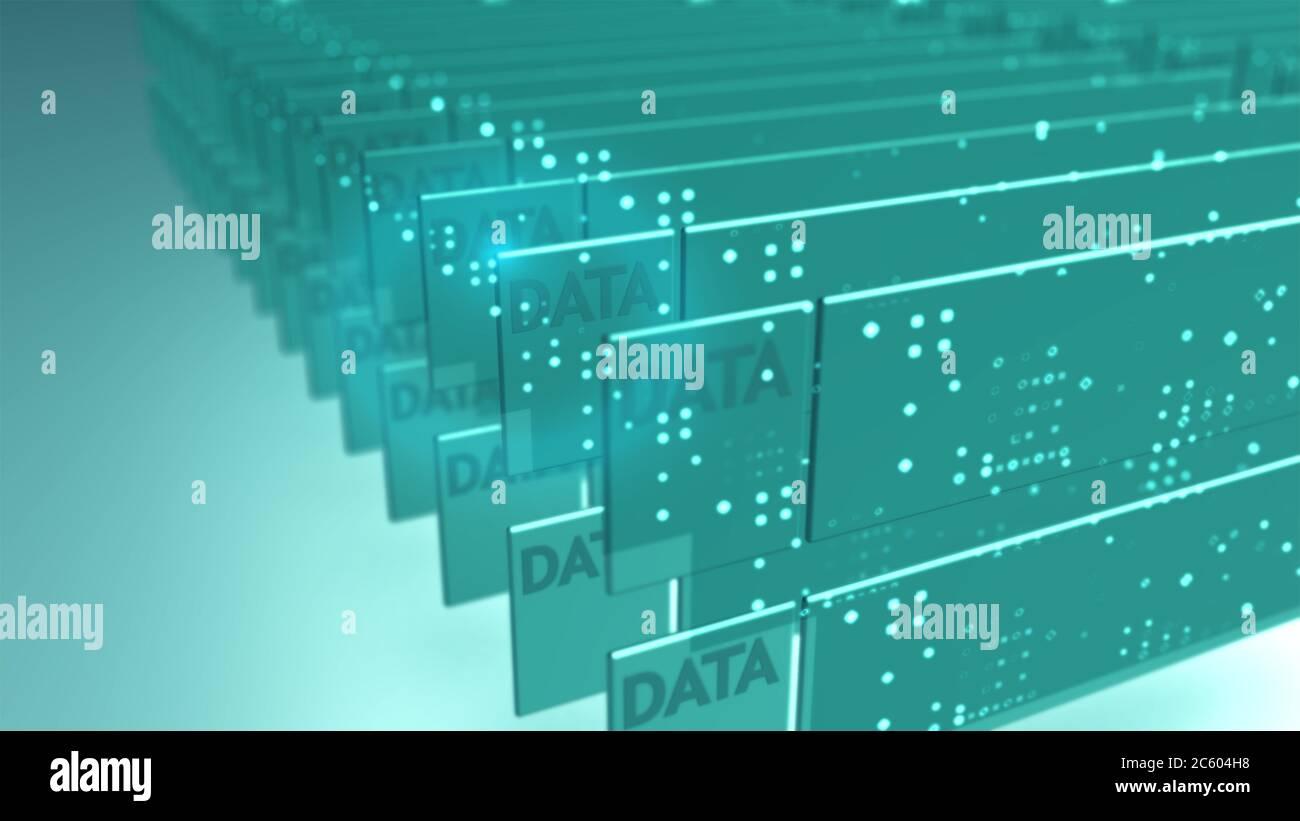 Big Data Sicherheit Informationstechnologie abstrakter Hintergrund. Stockfoto