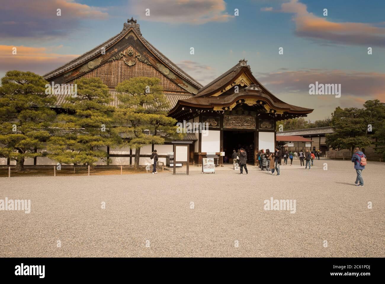 Niroshima und Honmaru Paläste in japan Stockfoto