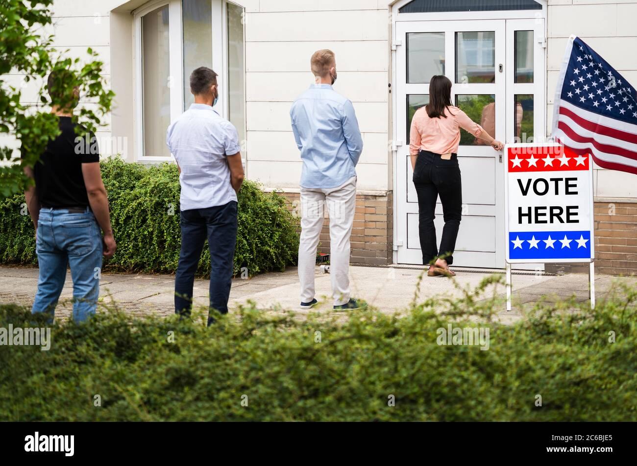 Stimme Ort Zeichen Am Wahlplatz Oder Stand Stockfoto