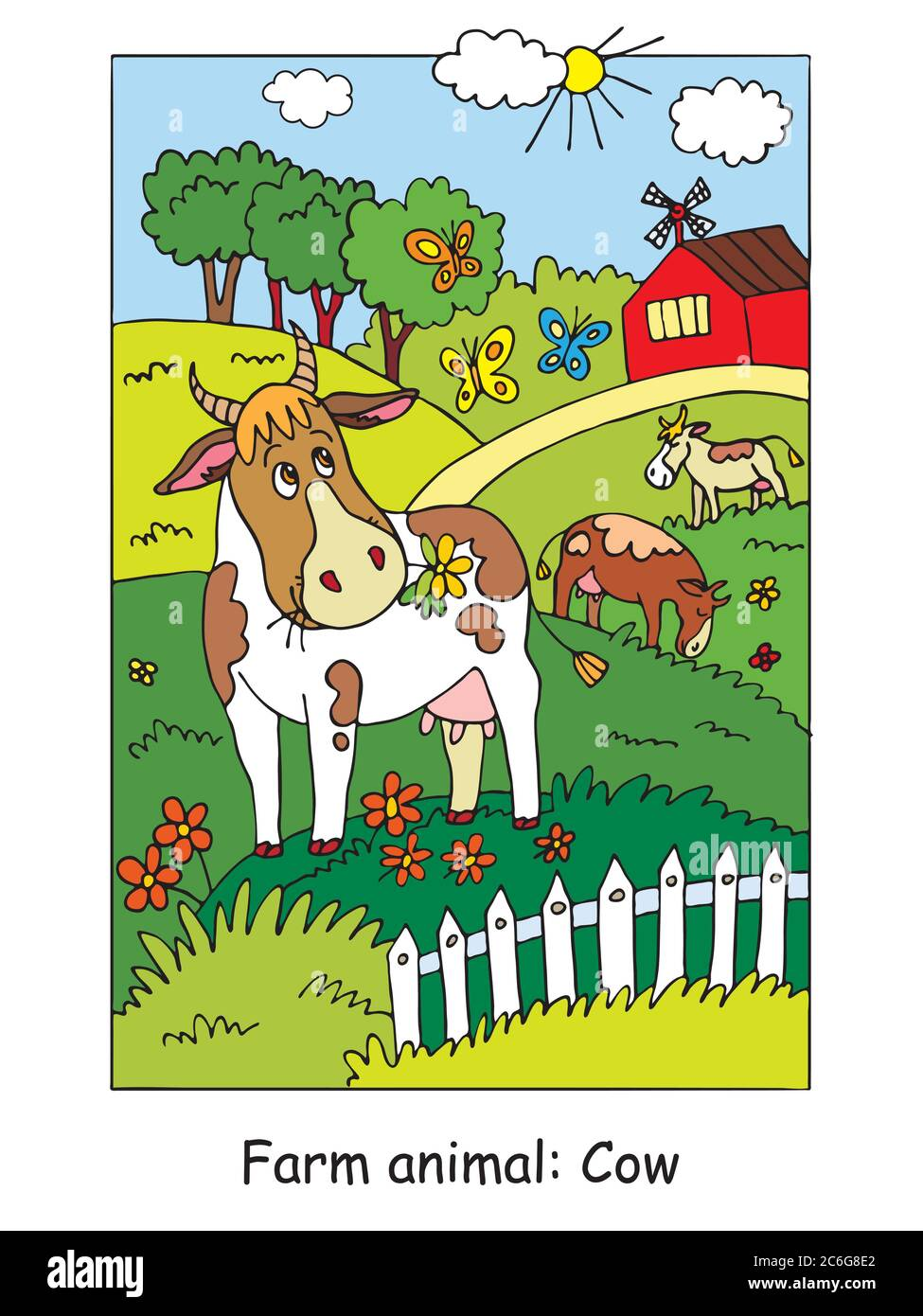 Malvorlagen mit niedlichen Kuh Gracing auf der Farm Wiese. Cartoon Vektorgrafik. Stock Illustration für Design, Vorschulbildung, Print und ga Stock Vektor