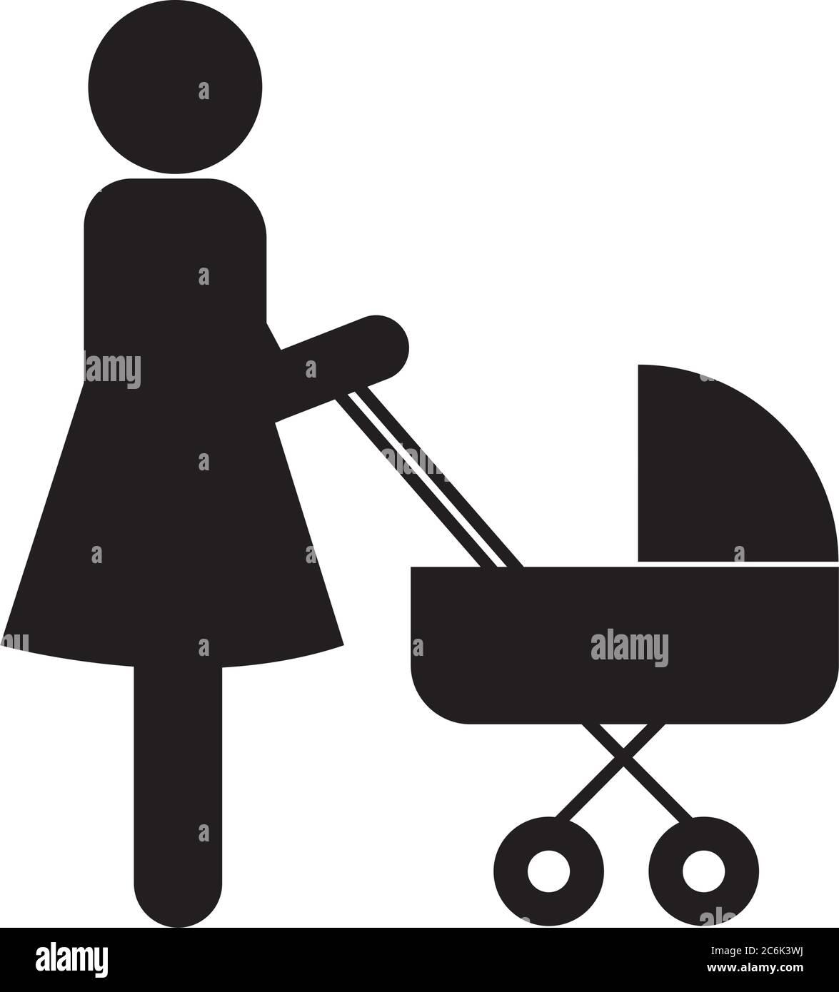 Mutter mit Baby Kinderwagen Silhouette Stil Icon Design, Familie Beziehung und Generation Thema Vektor Illustration Stock Vektor