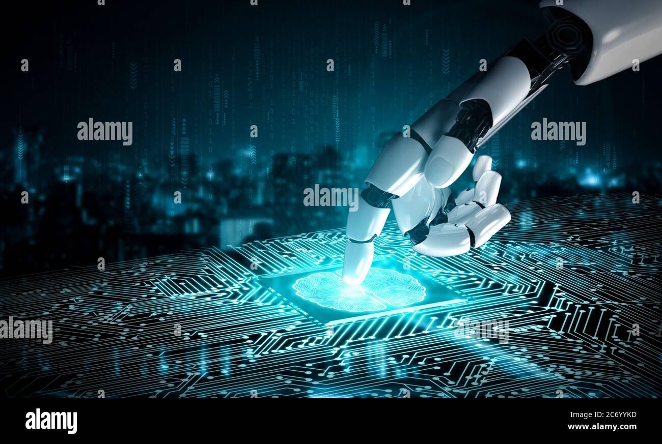 Zukunft künstliche Intelligenz Roboter und cyborg. Stockfoto