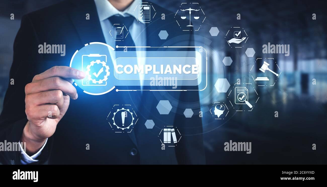 Grafische Benutzeroberfläche für Compliance-Regeln und Vorschriften für die Qualitätsrichtlinie des Unternehmens Stockfoto