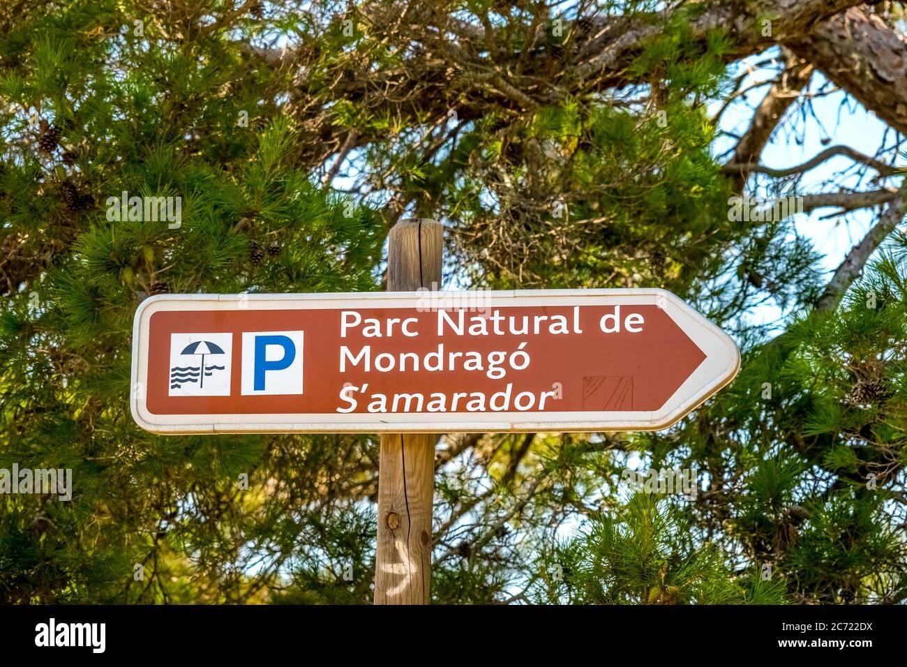 Parc Natural de Mondrago und Strand S'amador, Naturpark Mondrago in der Nähe von Santanyí, Europa, Balearen, Spanien, Santanyí, es, Reisen, Tourismus, esti Stockfoto