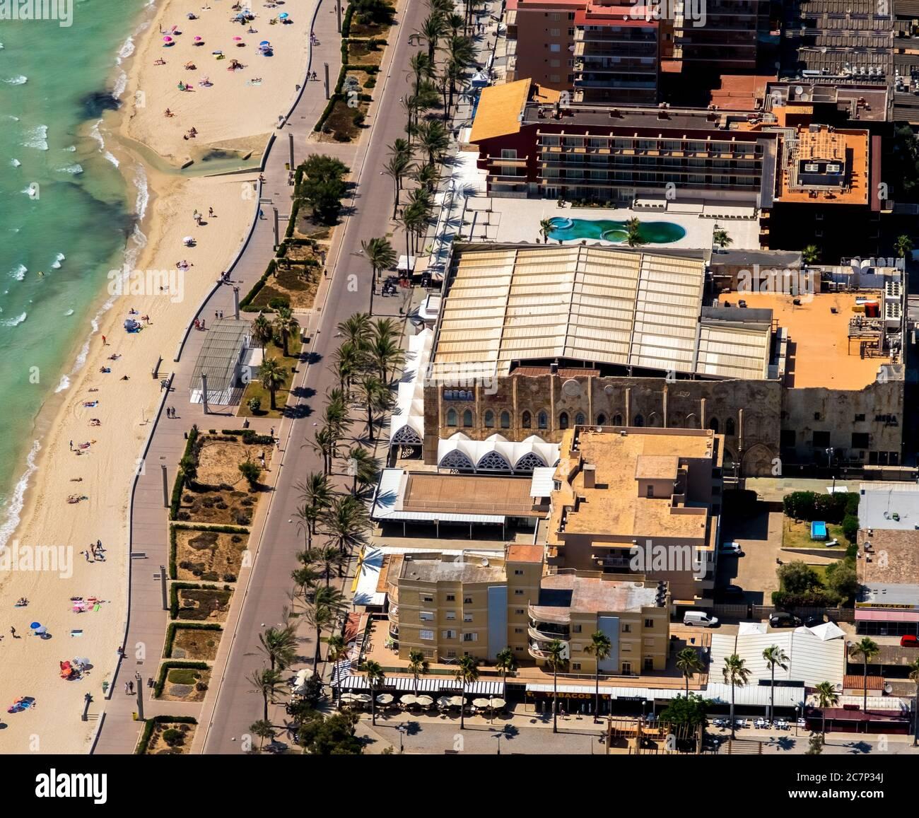 Luftbild, geschlossener großer Disco-Mega-Park, Strand von Arenal mit Balneario 5, Balneario 6, Balneario 5, S'arenal, Arenal, Ballermann, Europa, Balearen I Stockfoto