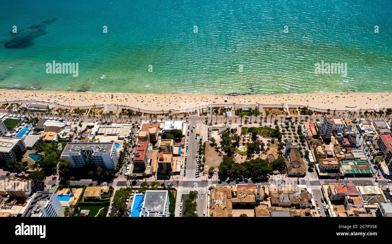 Luftbild, Arenal Strand mit Balneario 5, Balneario 6, Balneario 5, S'arenal, Arenal, Ballermann, Europa, Balearen, Spanien, Palma, es, Trave Stockfoto