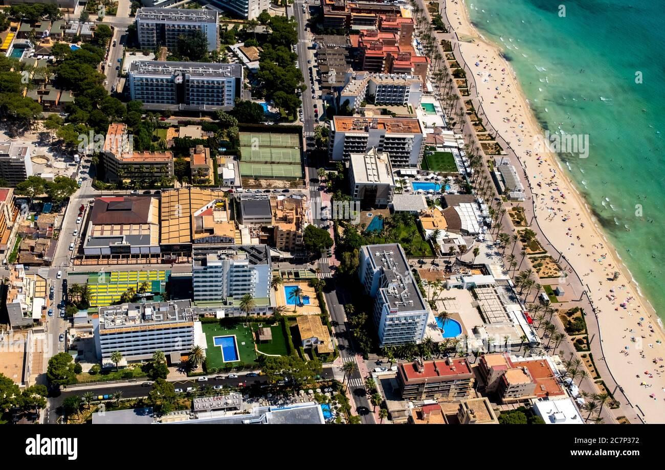 Luftbild, geschlossener großer Disco-Mega-Park, Oberbayern, Strand von Arenal mit Balneario 5, Balneario 6, Balneario 5, S'arenal, Arenal, Ballermann, Europa, Stockfoto