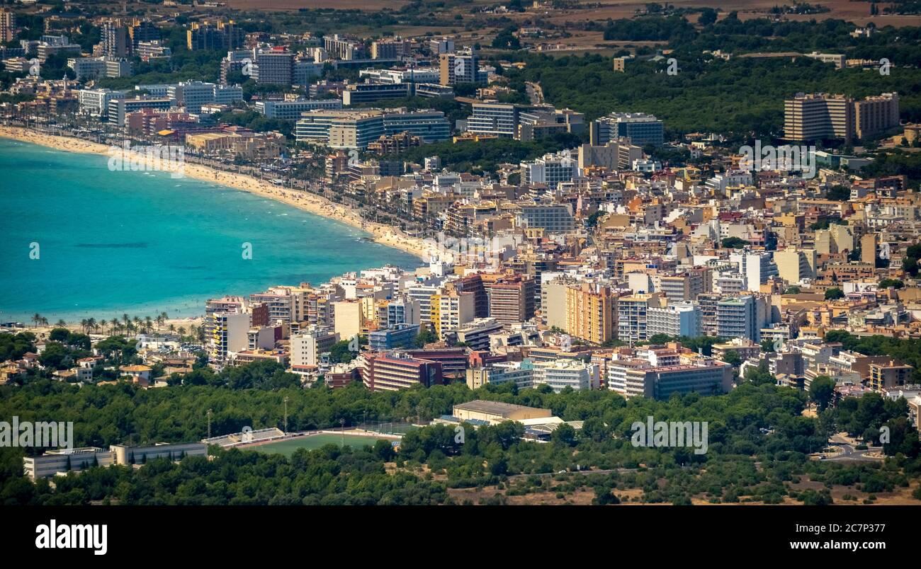 Luftaufnahme, Blick auf Arenal mit Strand und Bucht, S'arenal, Arenal, Ballermann, Europa, Balearen, Spanien, Llucmajor, es, Reisen, Tourismus, destina Stockfoto