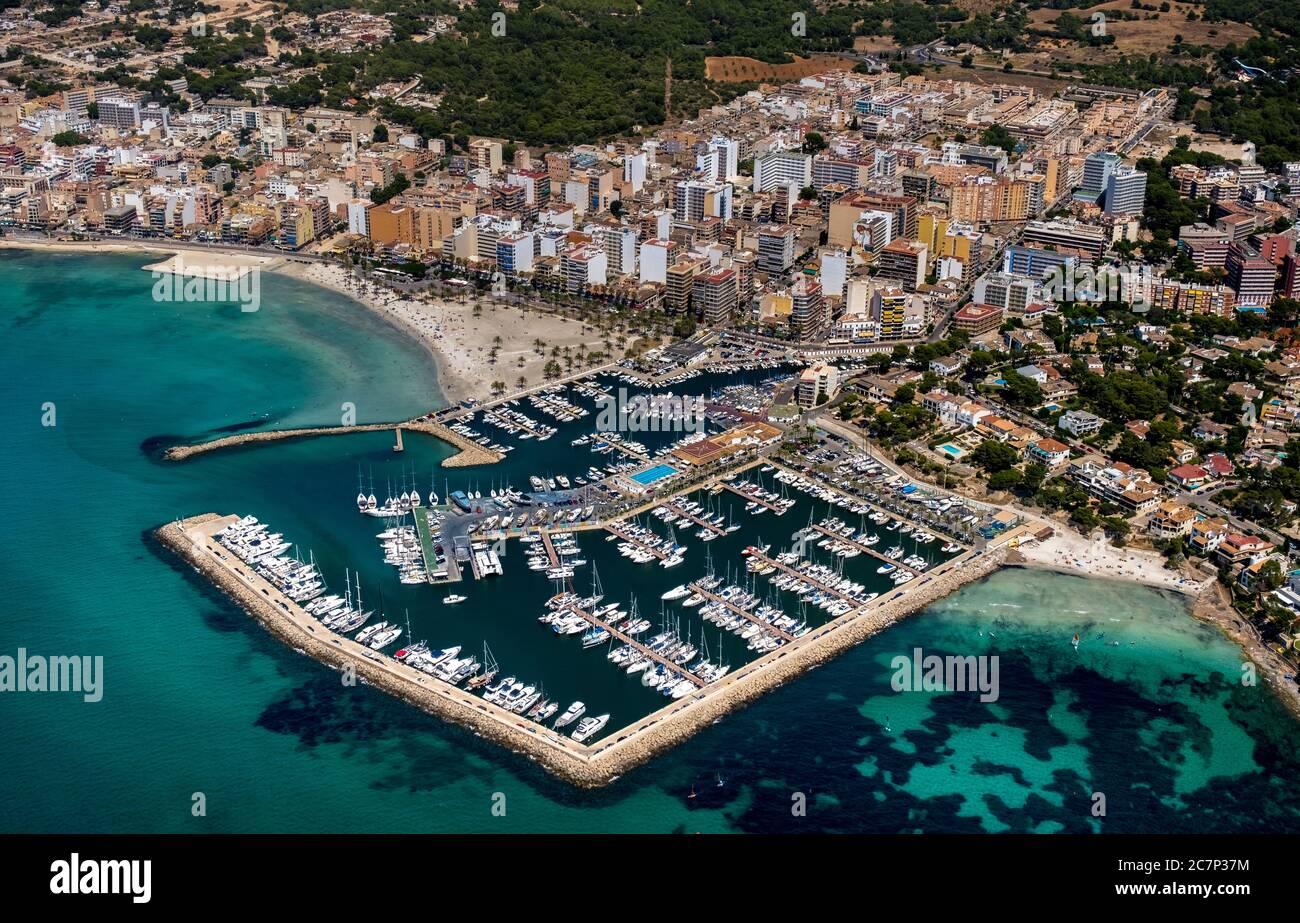 Luftaufnahme, Blick auf den Hafen von Arenal mit Strand und Bucht, S'arenal, Arenal, Ballermann, Europa, Balearen, Spanien, Llucmajor, es, Reise, Tour Stockfoto