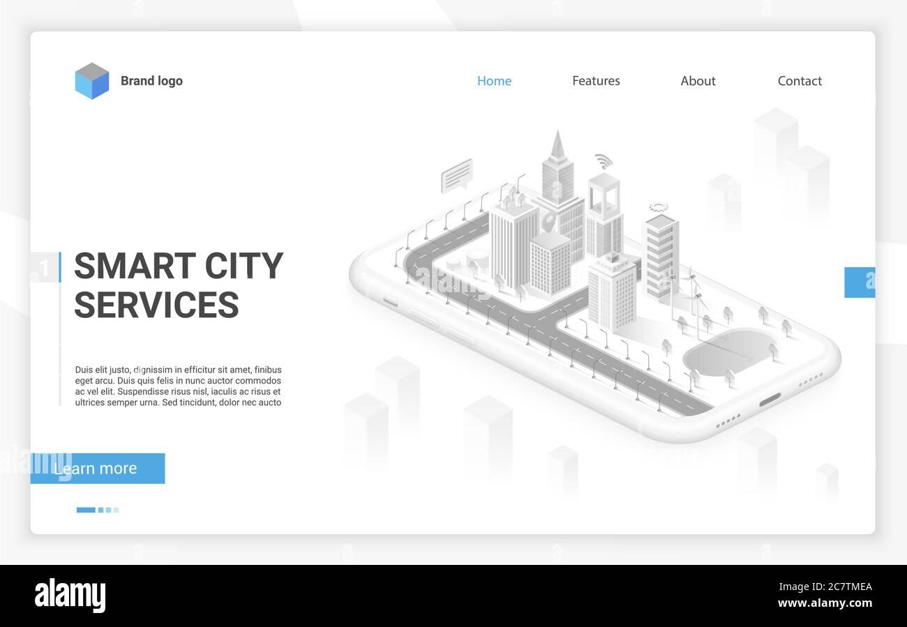Smart City Hologramm auf Smartphone-Bildschirm mit Smart-Services und Icons, Internet der Dinge, Business-Netzwerk und Augmented Reality isometrische Website-Vorlage Layout Konzept Vektor Illustration Stock Vektor