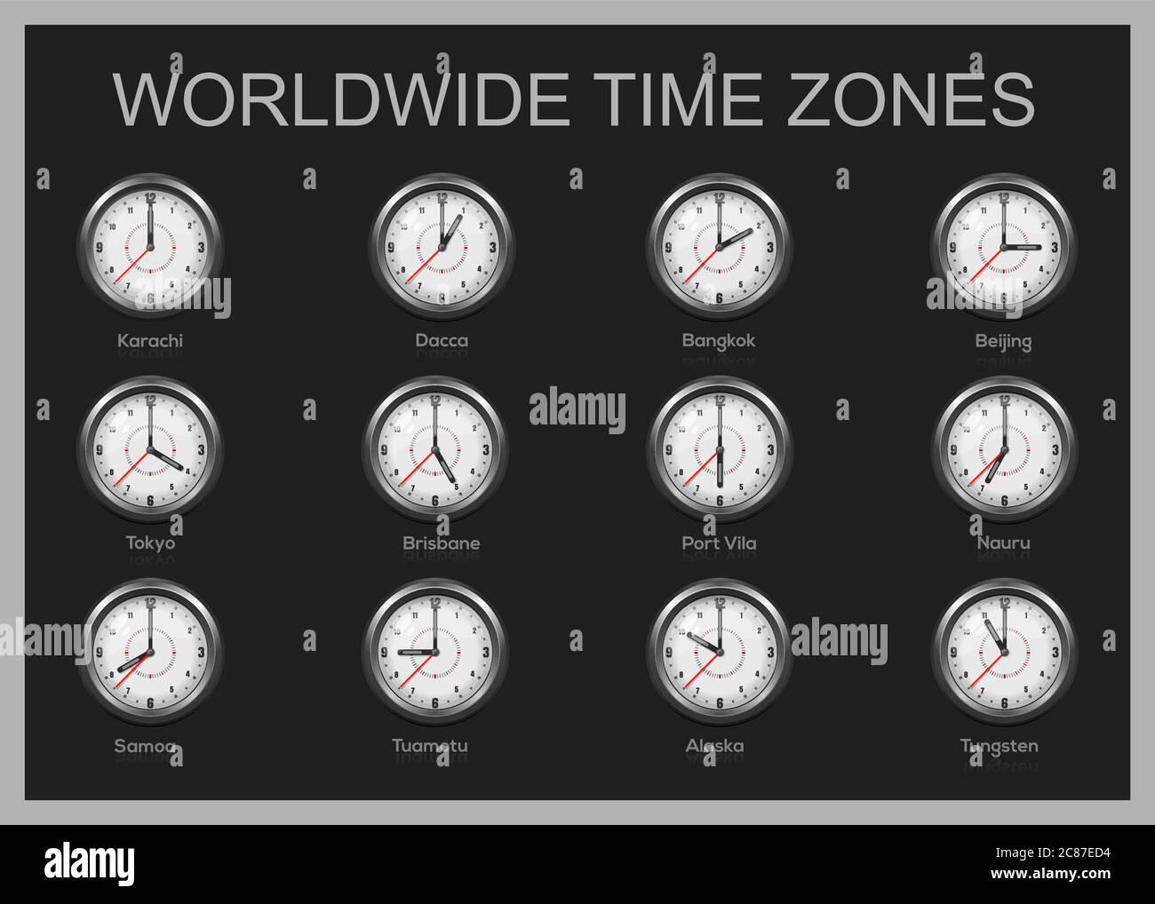 Uhren mit internationaler Uhrzeit. Weltzonen Stock Vektorgrafik ...