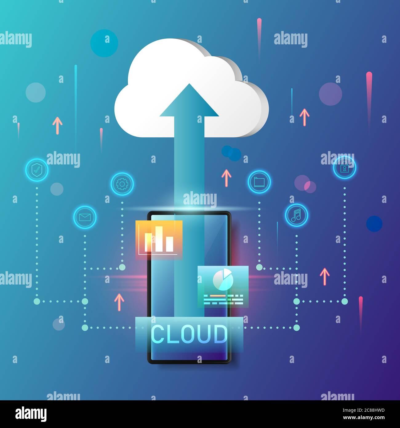 Konzept Cloud Computing-Technologie auf Smartphone Vektor Illustration. Stock Vektor