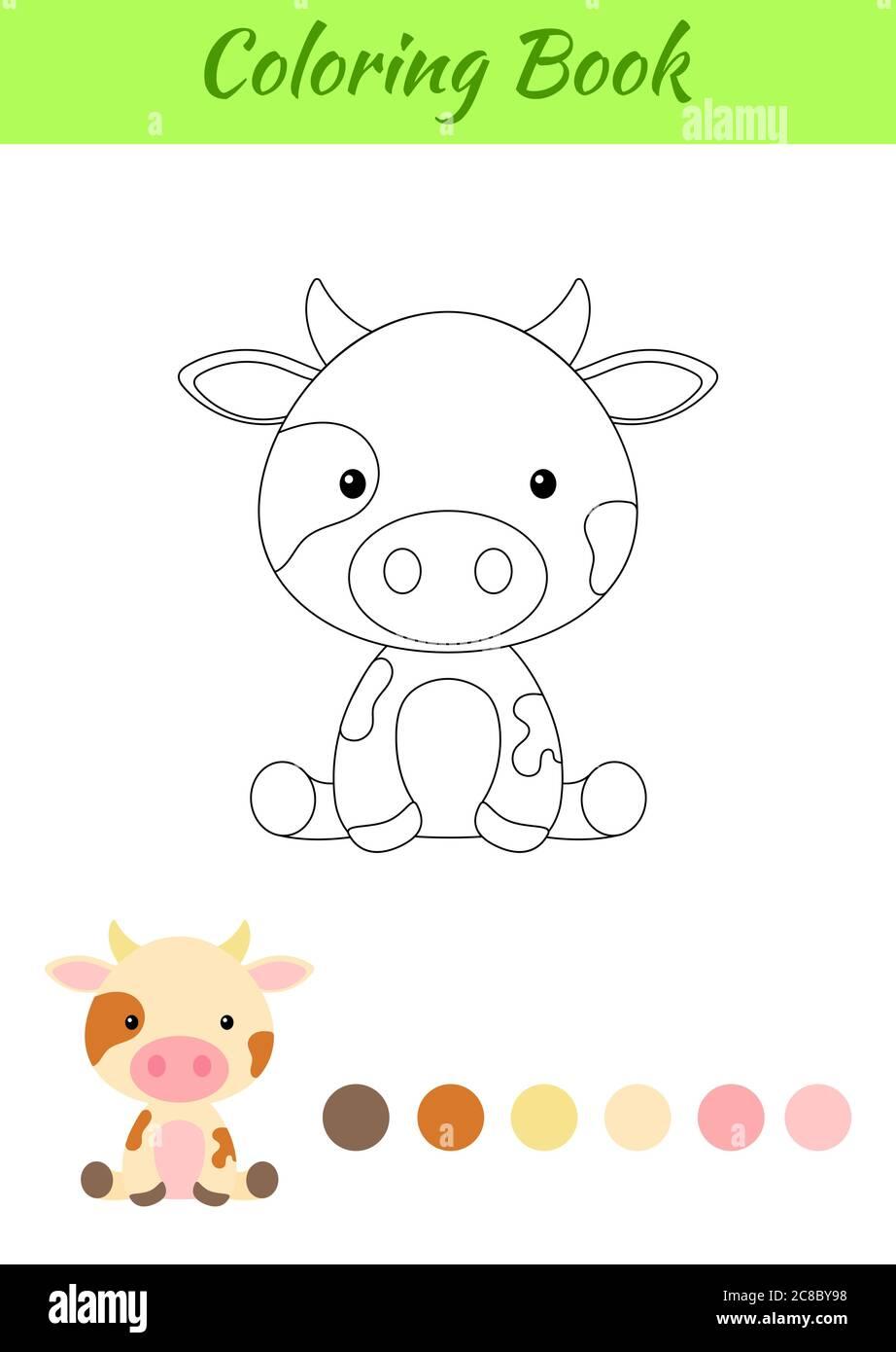 Malvorlagen kleine sitzende Kuh. Bild für Kinder. Pädagogische Aktivität für Kinder und Kleinkinder im Vorschulalter mit niedlichen Tier. Stock Vektor