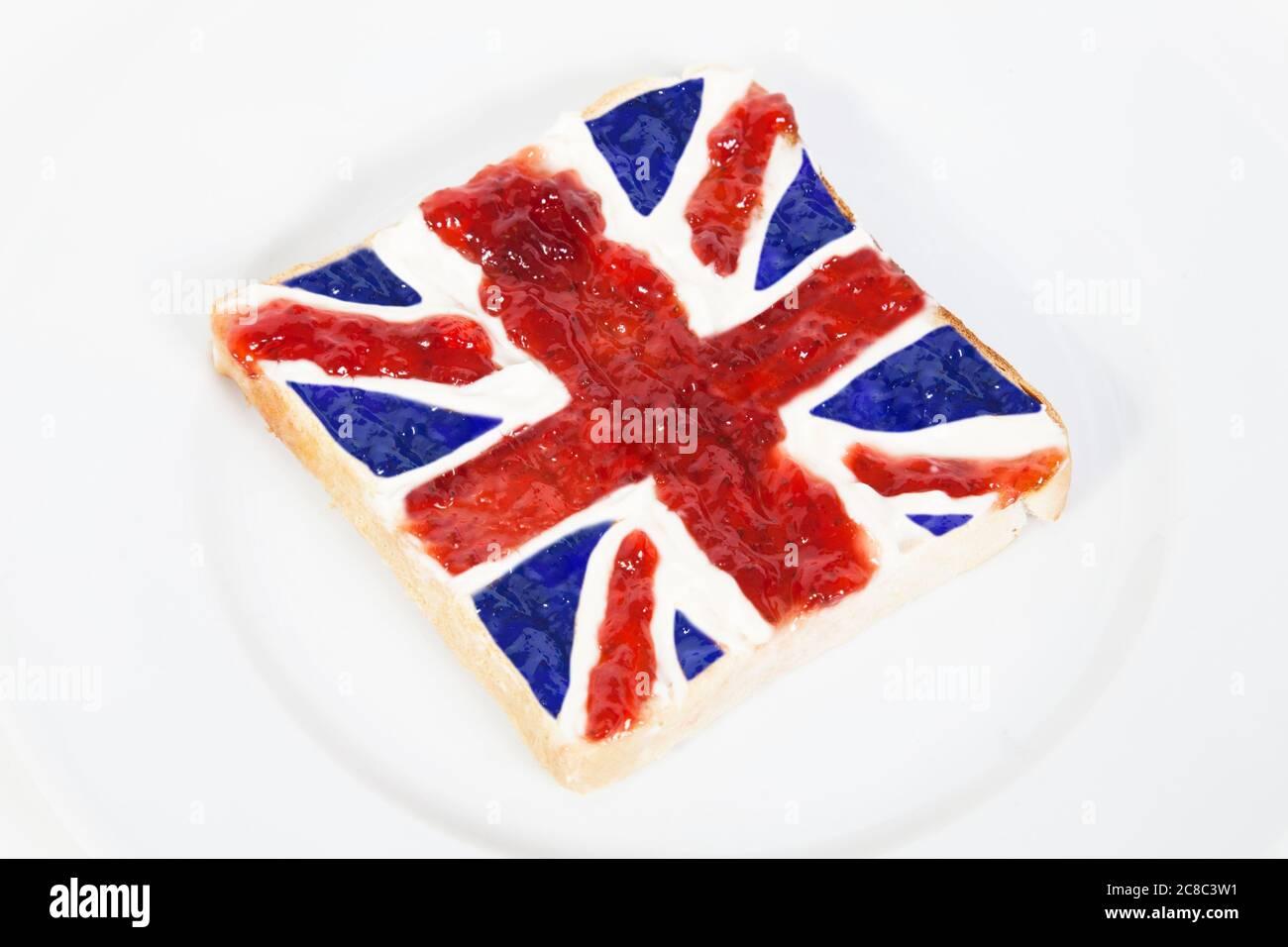 Union Jack Jam auf Toast Stockfoto