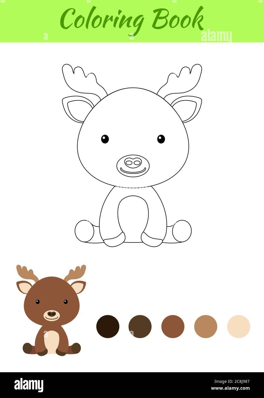Malvorlagen kleine sitzende Elch. Bild für Kinder. Pädagogische