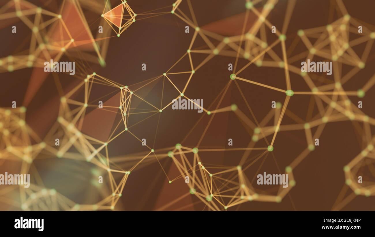 Verbindungsstruktur. Big Data-Visualisierung. Futuristische Form. Vom Computer generierter abstrakter Hintergrund Stockfoto