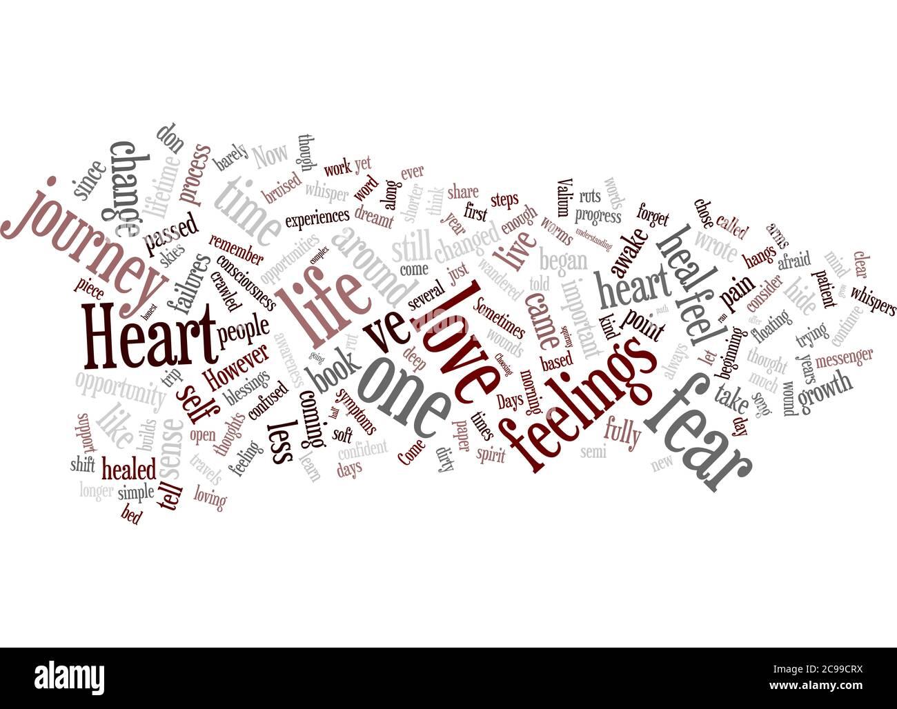 Wortwolke Zusammenfassung des Artikels die Geburt des I M Herzens Stockfoto
