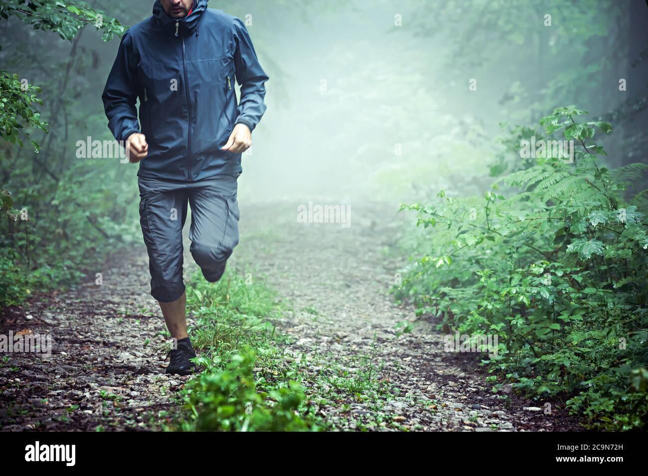 Nahaufnahme des männlichen Athleten, trägt Outdoor-Kleidung, läuft durch nebligen Wald am frühen Morgen. Kopierplatz verfügbar. Stockfoto