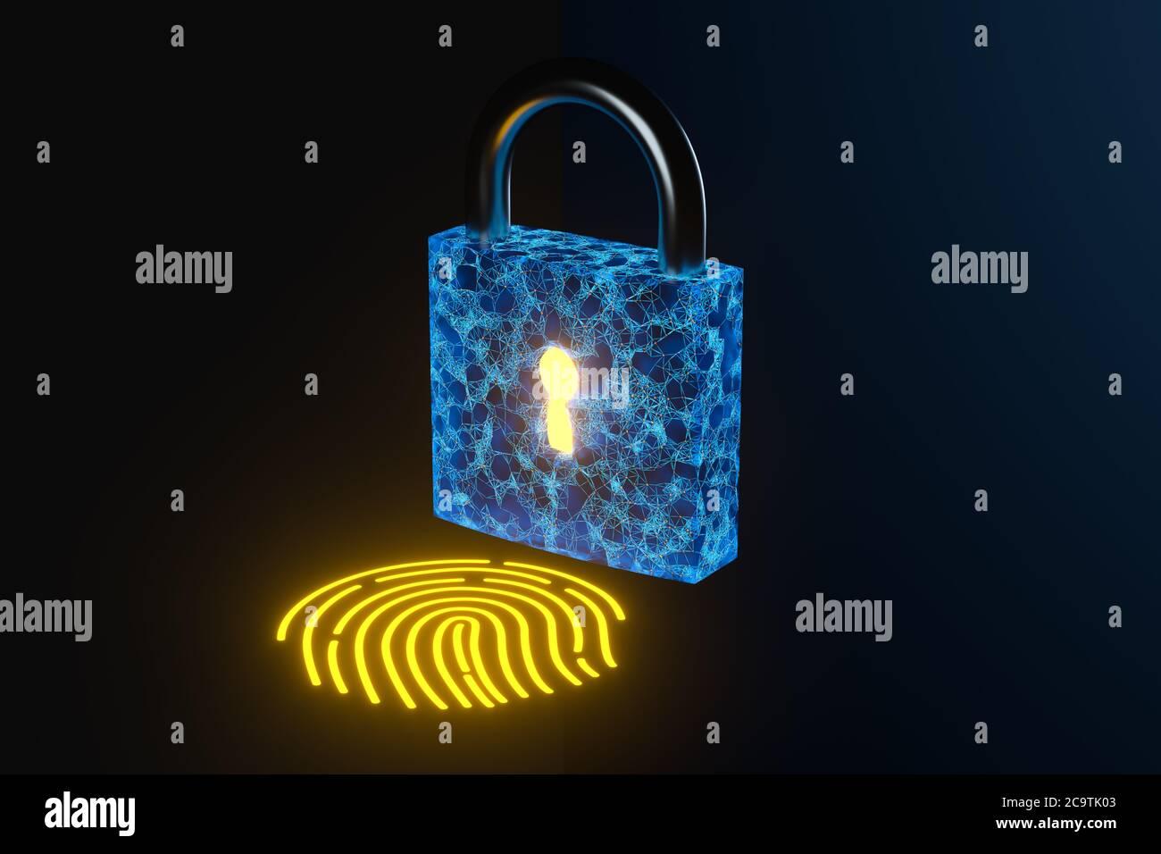 Sicherheitsschloss mit Fingerabdruckerkennung, 3d-Rendering. Digitale Zeichnung des Computers. Stockfoto