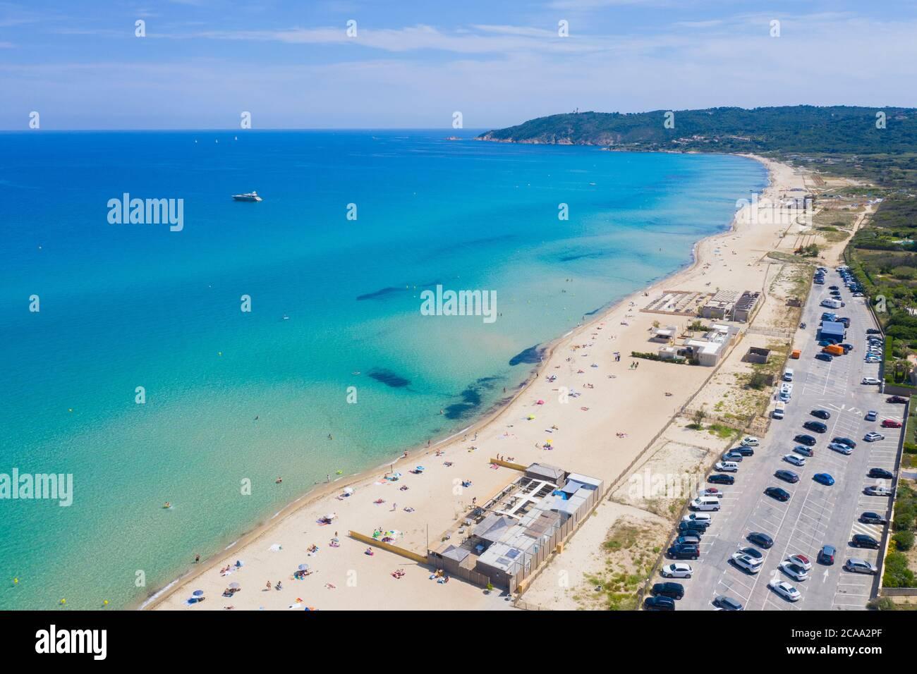 Var Department, Ramatuelle - Saint Tropez, Luftbild des Strandes von Pampelonne, der berühmte Strand an der französischen Riviera Stockfoto