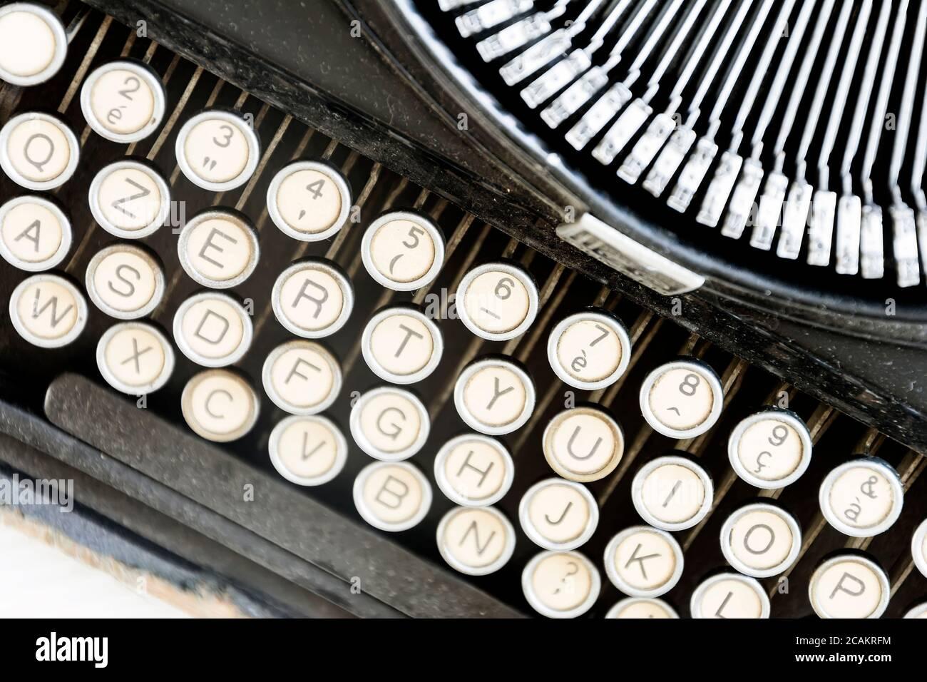 Antike Schreibmaschine Tastatur aus der alten Geschichte ...