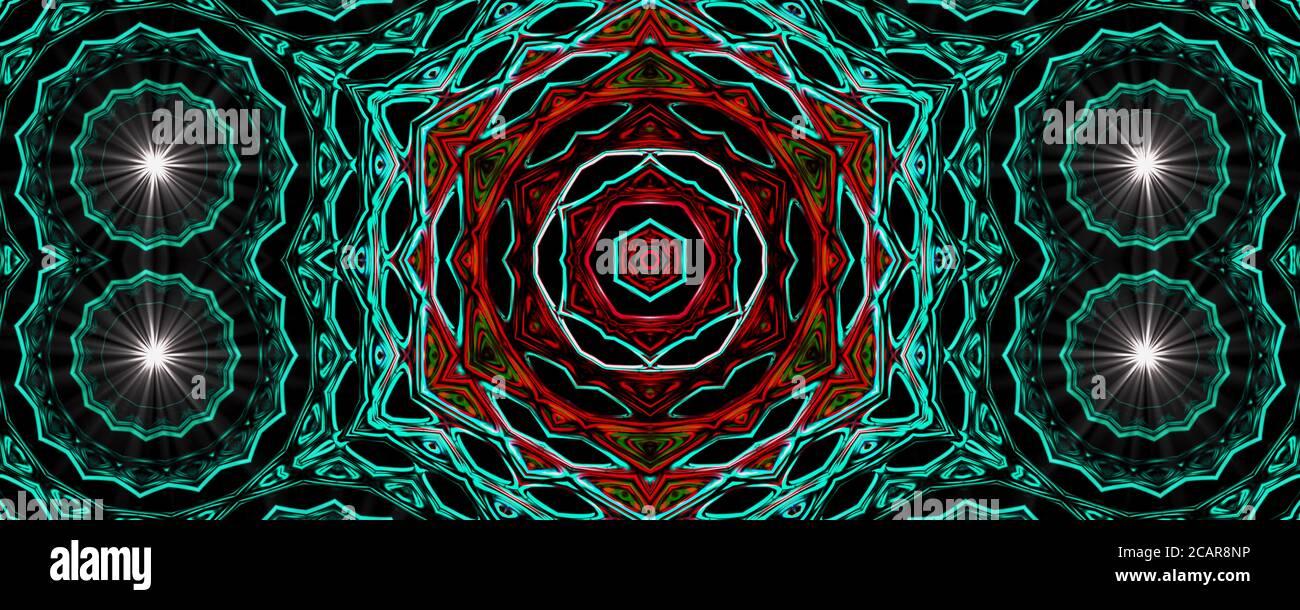 Aqua und rot Abstract alten geometrischen mit Sternfeld und bunten Galaxie Hintergrund, Aquarell digitale Kunst Malerei und Mandala Grafik-Design Stockfoto