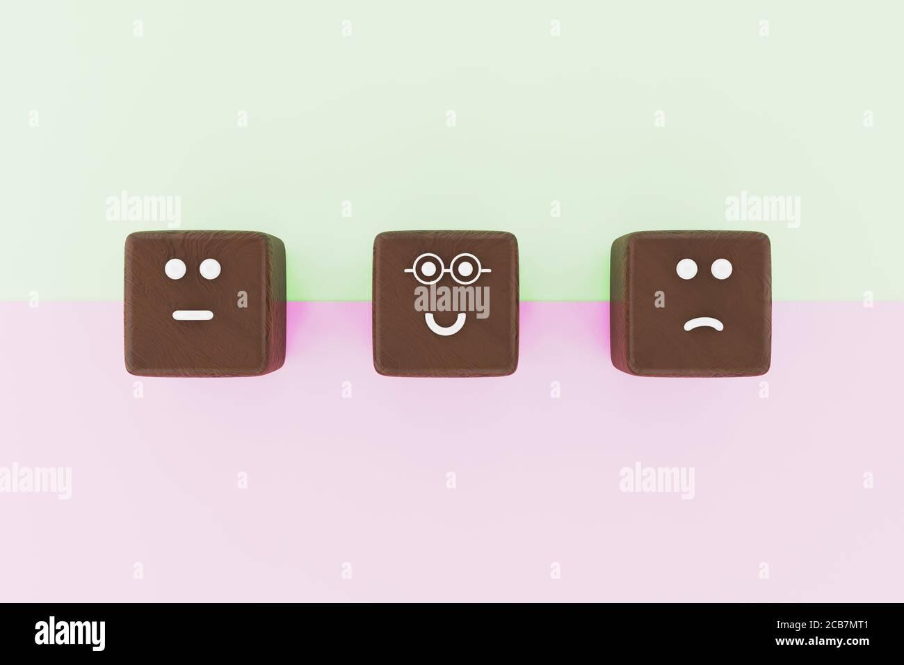 3D-Illustration von 3 Würfelform Gesicht Emoticons für eine Umfrage. Marketing- und Kundenzufriedenungskonzept. Hochwertige 3d-Illustration Stockfoto
