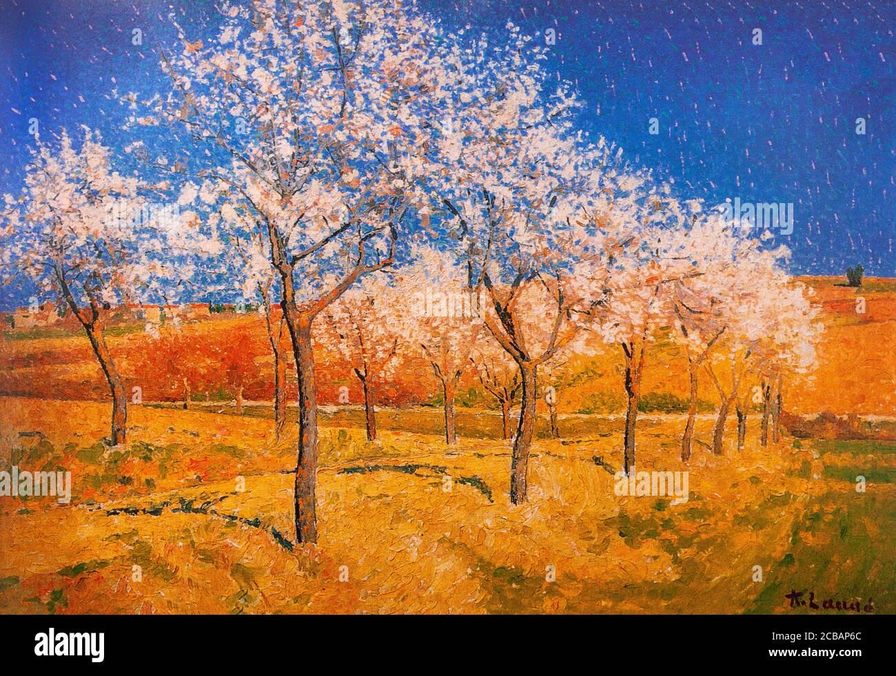 """""""Paysage Aux Arbres Fleurissants"""" oder Landschaft mit blühenden Bäumen von Achille Laugé (1861-1944), einem neoimpressionistischen Maler, geboren in der Aude Region von Frankreich in einer bescheidenen Familie, Achille Laugé war bestimmt oder eine Zukunft als Apotheker, Aber wählte die Toulouse School of Fine Arts. Beeinflusst von den französischen neoimpressionistischen Malern Georges Seurat (1859–1891), Paul Signac (1863–1935) und Camille Pissarro (1831–1903), nahm Laugé Elemente ihres Stils an, ohne sich mit Seurats strenger und wissenschaftlicher Methode zu verbinden. Stockfoto"""