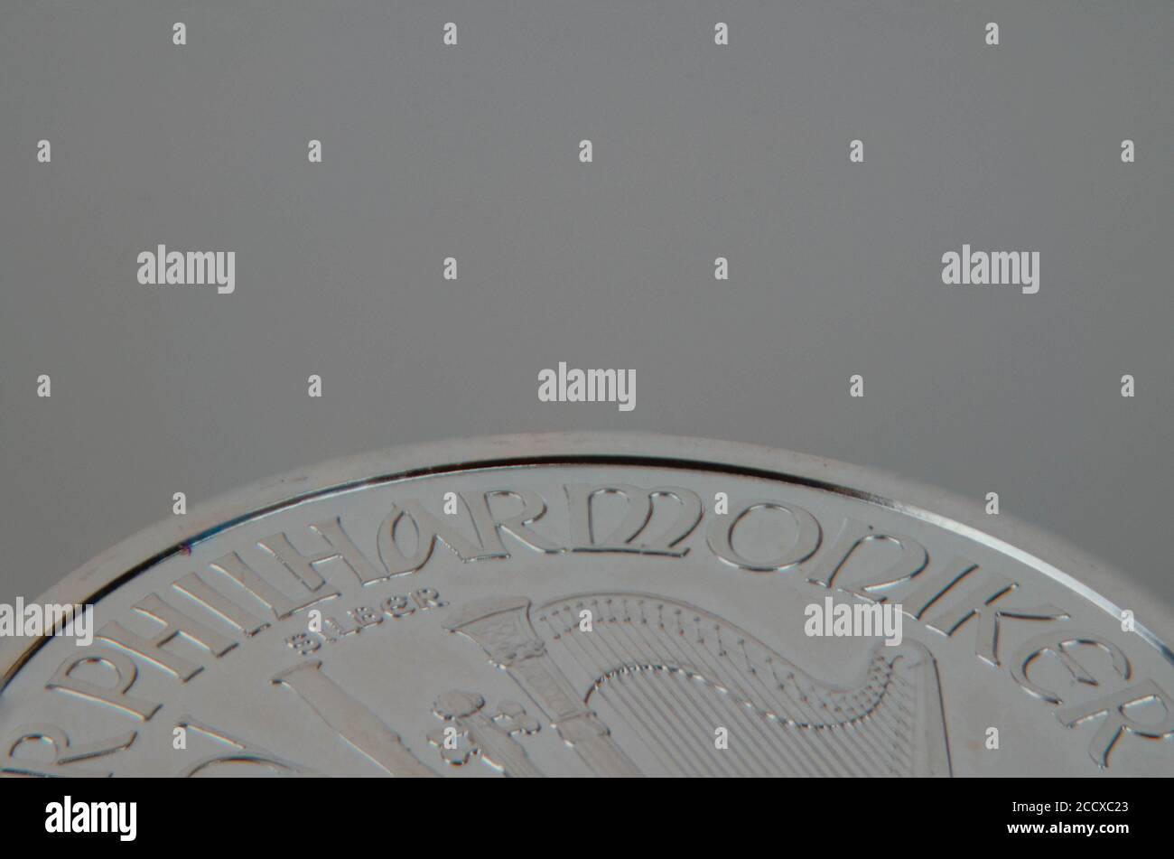 Silbermünze Wiener Philharmoniker eine Unze mit 1.5 Euro Wert Stockfoto