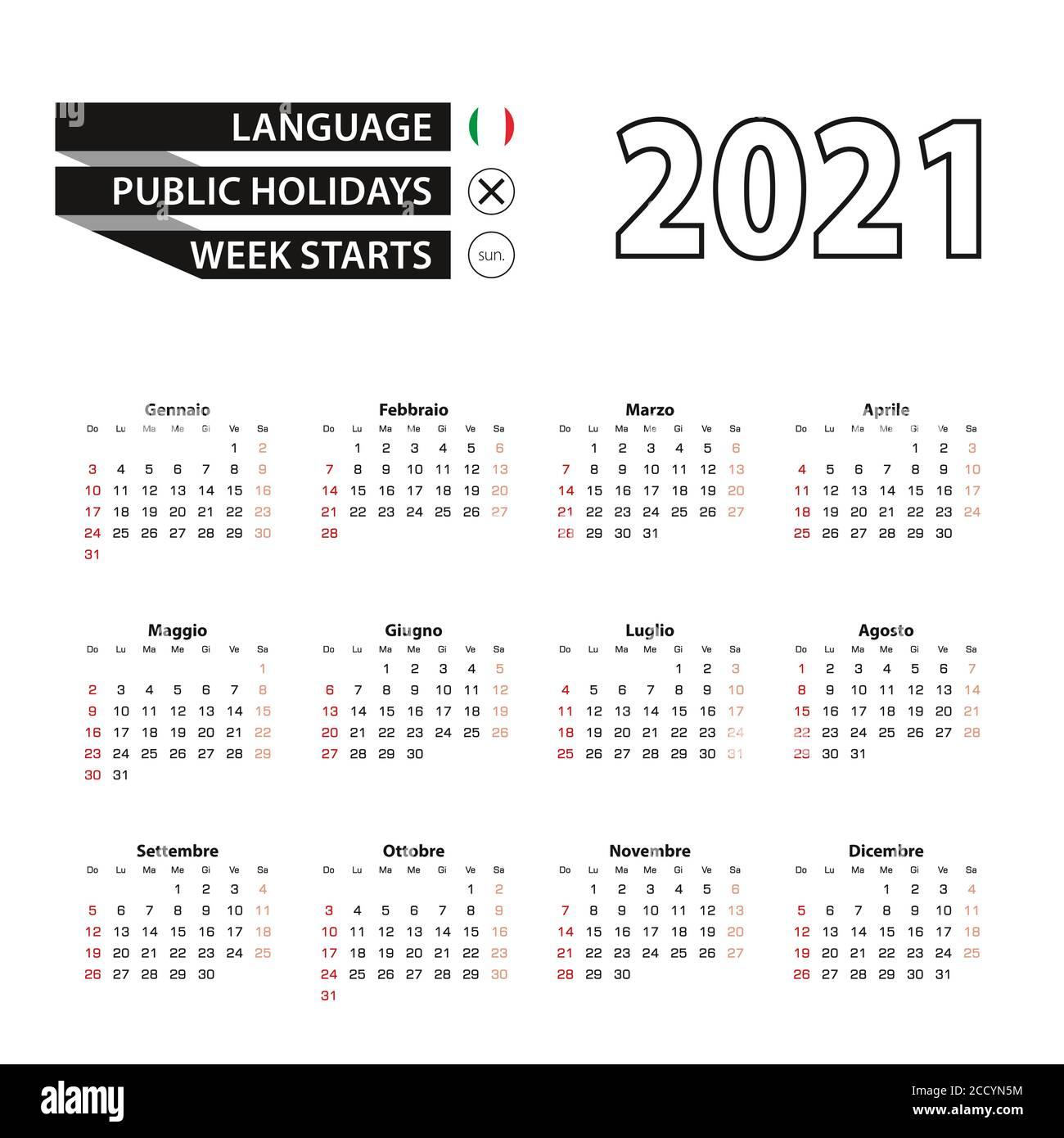 Kalender 20 in italienischer Sprache, Woche beginnt ab Sonntag ...