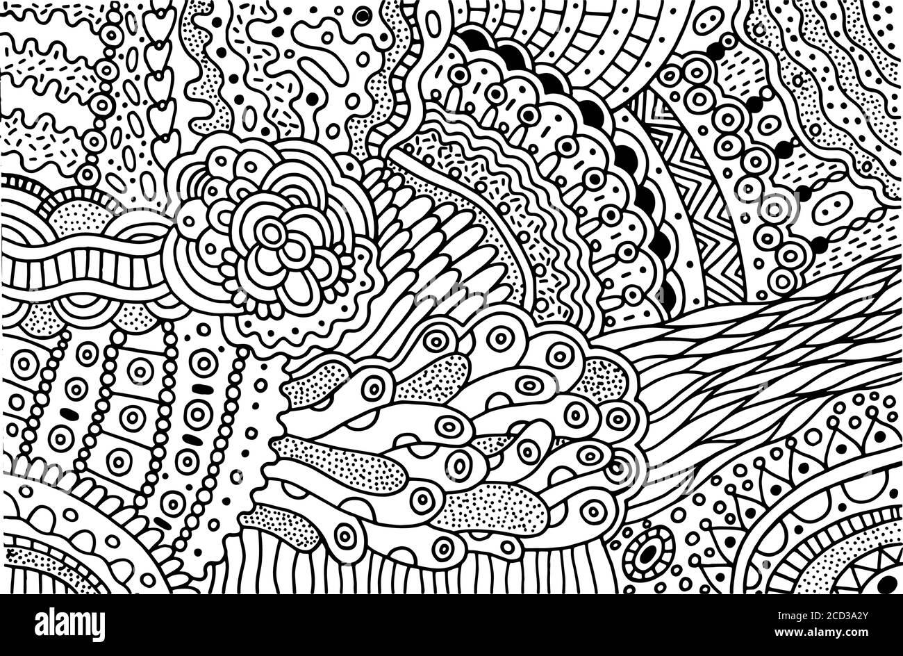 Surreale Doodle-Muster zum Ausmalen für Erwachsene. Malseite mit