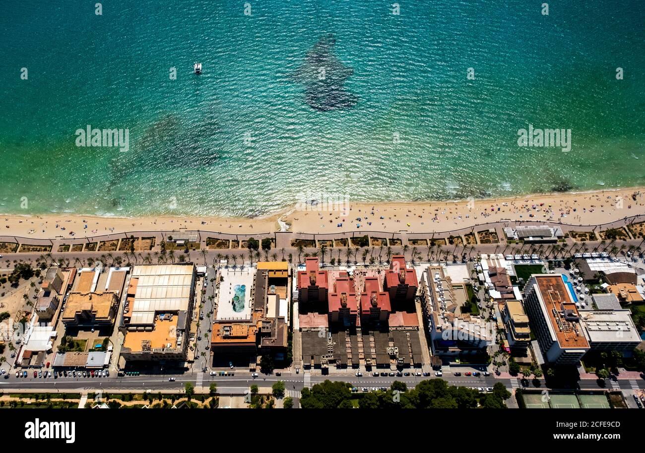 Luftaufnahme, Diskothek Oberbayern, Ham Street, Beer Street, Arenal Beach mit Balneario 5, Balneario 6, Balneario 5, S'arenal, Arenal, Stockfoto